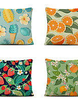 cheap -Cushion Cover 4PC Linen Soft Decorative Square Throw Pillow Cover Cushion Case Pillowcase for Sofa Bedroom 45 x 45 cm (18 x 18 Inch) Superior Quality Mashine Washable Orange Fruit Lanting Design
