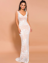 cheap -Sheath / Column Elegant Floral Prom Formal Evening Dress V Neck Sleeveless Floor Length Spandex Lace with Appliques 2020