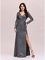cheap -Sheath / Column Elegant Minimalist Party Wear Formal Evening Dress V Neck Long Sleeve Floor Length Jersey with Sleek 2020