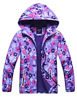 cheap -Girls' Hiking Jacket Hiking Windbreaker Outdoor Floral Botanical Waterproof Windproof Fleece Lining Breathable Jacket Winter Jacket Top Camping / Hiking Hunting Fishing Violet / Kid's / Warm