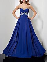 cheap -A-Line Elegant Floral Engagement Formal Evening Dress Sweetheart Neckline Sleeveless Court Train Chiffon with Pleats 2020