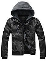 cheap -men's casual slim removable hood faux leather jackets (x-large, black)