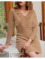 cheap -women's sweater jumper dress short mini dress - long sleeve solid color lace patchwork fall v neck casual going out slim 2020 khaki s m l