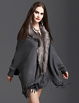 cheap -Long Sleeve Capes Faux Fur / Knit Wedding / Party / Evening Shawl & Wrap / Women's Wrap With Tassel / Split Joint / Solid