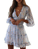 cheap -boho ruffle floral print dress long sleeve deep v neck backless swing mini dresses for women party wedding