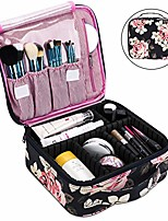 cheap -makeup bag travel cosmetic bag for women nylon cute makeup case large professional cosmetic train case organizer with adjustable dividers for cosmetics make up tools toiletry jewelry,dark blue peony