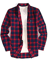 cheap -mens casual button down dress shirt long sleeve flannel shirts regular fit (flannel-navyred, xxl)
