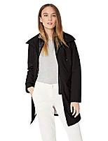 cheap -women's thigh length zip rain jacket with stoweaway hood in collar, black, x-large