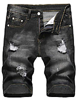 cheap -men's fashion ripped short jeans casual denim shorts with hole, 304-black, us 34 /tag 34