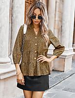 cheap -Women's Blouse Shirt Leopard Cheetah Print Long Sleeve V Neck Tops Basic Basic Top Brown