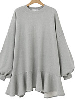 cheap -Women's Shift Dress Short Mini Dress - Long Sleeve Solid Color Ruffle Fall Casual 2020 Black Beige Gray M L XL XXL 3XL 4XL