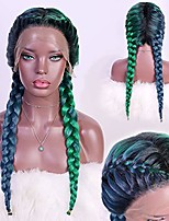 cheap -aiva hair braided lace front wig with braids dark green mixed with light green wig heat resistant synthetic wigs with baby hair pre-plucked hairline hair wig braid for women (green)