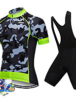 cheap -21Grams Men's Short Sleeve Cycling Jersey with Bib Shorts Spandex Polyester White Black Camo / Camouflage Bike Clothing Suit UV Resistant Breathable 3D Pad Quick Dry Reflective Strips Sports Camo