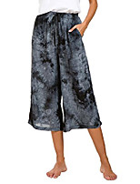 cheap -womens comfy solid tie-dye 3/4 lounge pants (l, black)