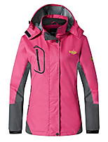 cheap -women's insulated jacket mesh lined raincoat adjustable hood rose red l