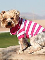 cheap -striped dog polos (pink yarrow and white)