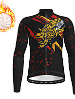 cheap -21Grams Men's Long Sleeve Cycling Jacket Winter Fleece Black Dragon Bike Jacket Top Mountain Bike MTB Road Bike Cycling Fleece Lining Warm Sports Clothing Apparel / Stretchy
