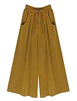cheap -women's elastic waist wide leg   solid soft casual palazzo capri culottes pants m yellow