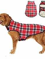 "cheap -dog fleece vest jacket dog winter windproof coat for larger dog warm clothes for cold weather woolen coat for medium large dogs (3xl: back length 18.1"", neck 15.7"", chest 26.2"", red plaid)"