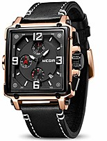 cheap -men's analogue army military chronograph luminous quartz watch with fashion leather strap for sport & business work (2061 rose/black)
