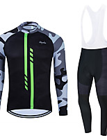 cheap -WECYCLE Men's Women's Long Sleeve Cycling Jersey with Bib Tights Cycling Jersey with Tights Winter Polyester Black Dark Gray Black / White Camo / Camouflage Bike Clothing Suit Breathable 3D Pad Quick