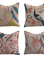 cheap -Set of 4 Linen Cotton / Linen Pillow Cover Pillowcase Sofa Cushion Square Throw Pillow Leaves Bird Pillows Case 45*45cm