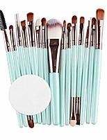 cheap -15pcs makeup brush set, make up brushes set foundation powder eyeshadow eyeliner cosmetics tools make-up toiletry kit for women girls (mint green)