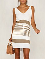 cheap -Women's A-Line Dress Short Mini Dress - Sleeveless Striped Split Patchwork Summer V Neck Casual 2020 Black Khaki S M L XL XXL 3XL
