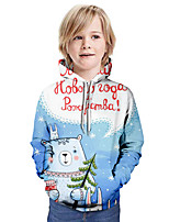 cheap -Kids Boys' Active 3D Letter Christmas Print Long Sleeve Hoodie & Sweatshirt Light Blue