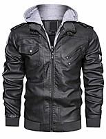 cheap -men biker retro leather motorcycle jacket full zip faux distressed moto jacket grey