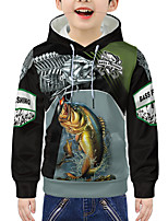 cheap -Kids Boys' Active 3D Animal Letter Print Long Sleeve Hoodie & Sweatshirt Army Green