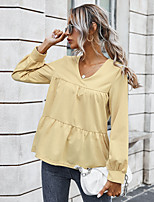 cheap -Women's Blouse Shirt Solid Colored Long Sleeve Patchwork V Neck Tops Basic Basic Top Wine Army Green Beige