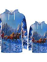 cheap -Daddy and Me Active Horse Santa Claus Graphic 3D Print Animal Print Long Sleeve Regular Hoodie & Sweatshirt Blue