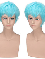 cheap -Cosplay Cosplay Cosplay Wigs Men's Layered Haircut 12 inch Heat Resistant Fiber Synthetic Fiber Straight Blue Teen Adults' Anime Wig