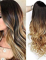 cheap -ombre brown wigs with dark roots long wavy synthetic wig heat resistant wigs for women(ombre black to light brown)
