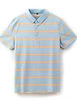 cheap -Men's Golf Polo Shirts Short Sleeve Autumn / Fall Spring Summer UV Sun Protection Breathable Quick Dry Stripes Light Blue / Stretchy