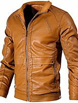 cheap -mens casual leather jacket slim fit stand collar pu motorcycle coat lightweight yellow