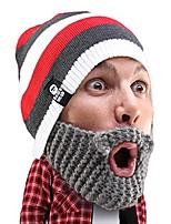 cheap -stubble cruiser beard beanie - funny knit hat and fake beard facemask grey