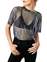 cheap -womens see through shirts short sleeve sexy mesh metallic shiny tops (small, black 01)