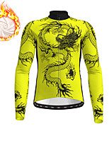 cheap -21Grams Men's Long Sleeve Cycling Jacket Winter Fleece Black Yellow Orange Dragon Bike Jacket Top Mountain Bike MTB Road Bike Cycling Fleece Lining Warm Sports Clothing Apparel / Micro-elastic