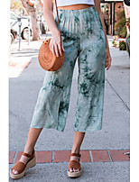 cheap -Women's Breathable Loose Casual Wide Leg Pants Tie Dye Full Length Blue Blushing Pink Green