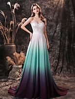 cheap -A-Line Color Block Sexy Prom Formal Evening Dress Sweetheart Neckline Sleeveless Sweep / Brush Train Chiffon with Embroidery 2020