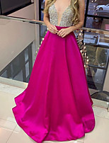 cheap -A-Line Glittering Sexy Wedding Guest Formal Evening Dress Illusion Neck Sleeveless Sweep / Brush Train Satin with Sequin 2020