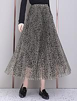 cheap -Women's Causal Daily Active Streetwear Skirts Leopard Pleated Blue Khaki / Maxi