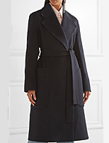 cheap -Women's Fall & Winter Coat Long Solid Colored Daily Basic Navy Blue XS S M L
