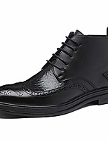 cheap -mens casual wing tip perforated mid-top brogue boots dress casual ankle boots black size 7