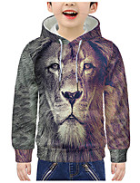 cheap -Kids Boys' Active 3D Graphic Animal Print Long Sleeve Hoodie & Sweatshirt Purple