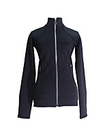 cheap -Figure Skating Fleece Jacket All Ice Skating Jacket Black Patchwork Stretchy Training Skating Wear Thermal Warm Handmade Solid Colored Long Sleeve Ice Skating Winter Sports Figure Skating / Kids
