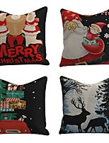 cheap -Set of 4 Christmas Decoration Cushion Cover Cartoon Santa Claus Polyester Throw Pillow Case Cover Merry Christmas Decoration Pillowcases