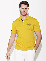 cheap -Men's Golf Polo Shirts Short Sleeve Autumn / Fall Spring Summer UV Sun Protection Breathable Quick Dry Cotton Solid Color Black Purple Yellow Gray / Stretchy